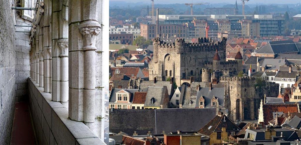 Ausblick vom Gent Belfried auf Gravensteen Grafenburg, Gent Sehenswürdigkeiten, Moments of Travel