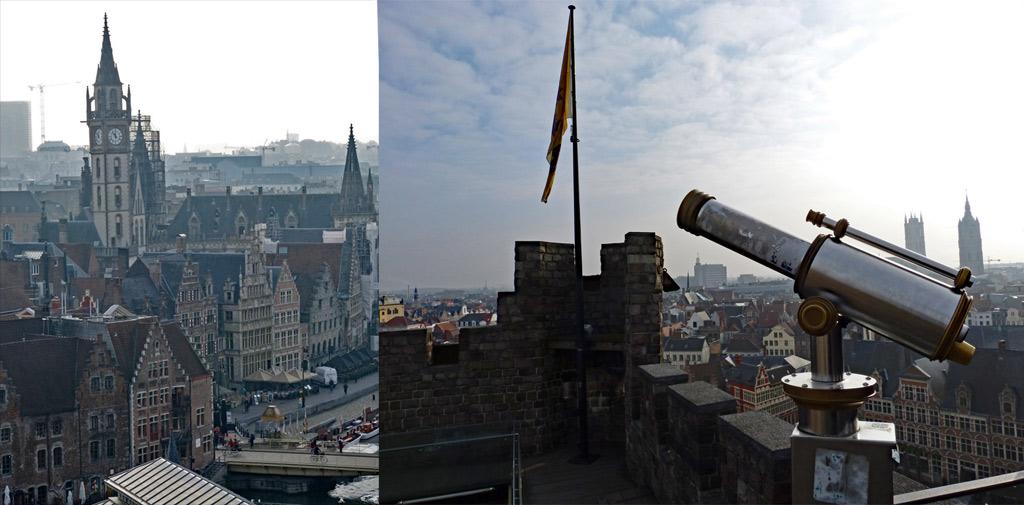 Fernrohr, Flagge und Aussicht auf historischen Kern von Gent, Gent Sehenswürdigkeiten, Moments of Travel