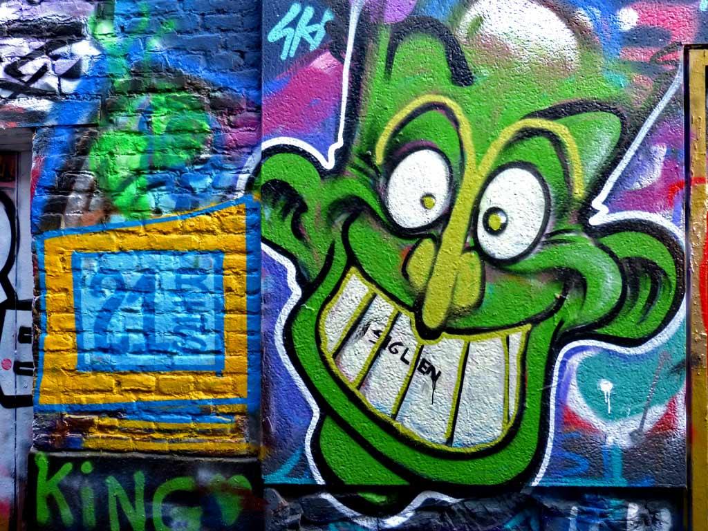 Grafitti grünes Gesicht, Gent Sehenswürdigkeiten, Moments of Travel