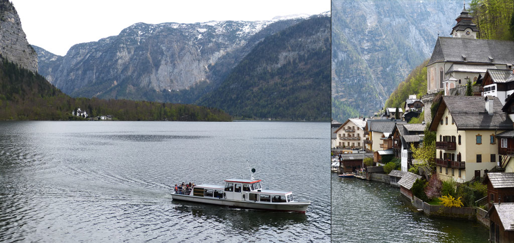 Boot fährt auf Hallstätter See vor Hauskulisse