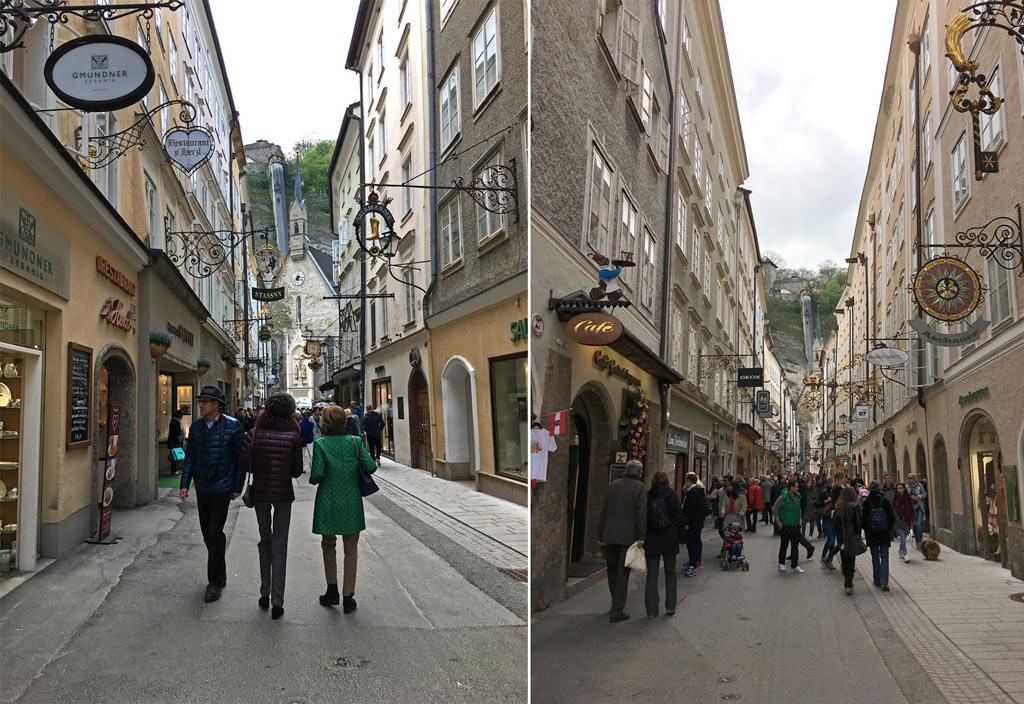 Menschen enge Gasse Salzburg