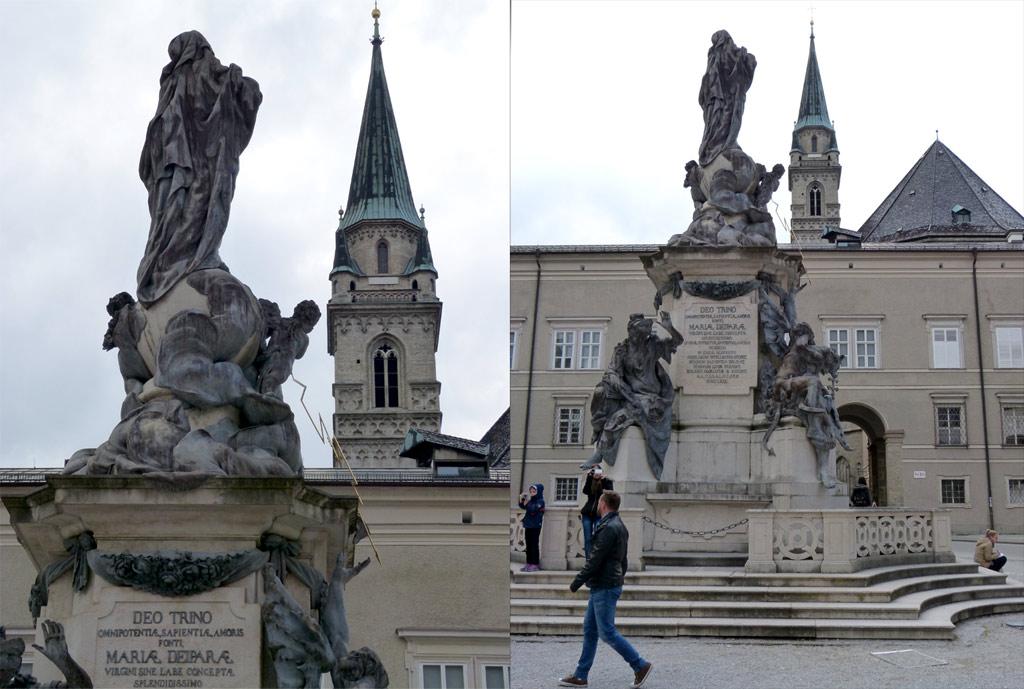 Statue Kirchturm Dom zu Salzburg