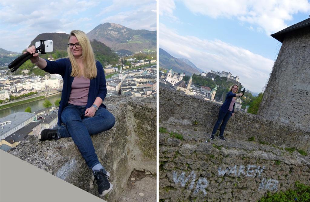 Frau macht Selfies in Salzburg