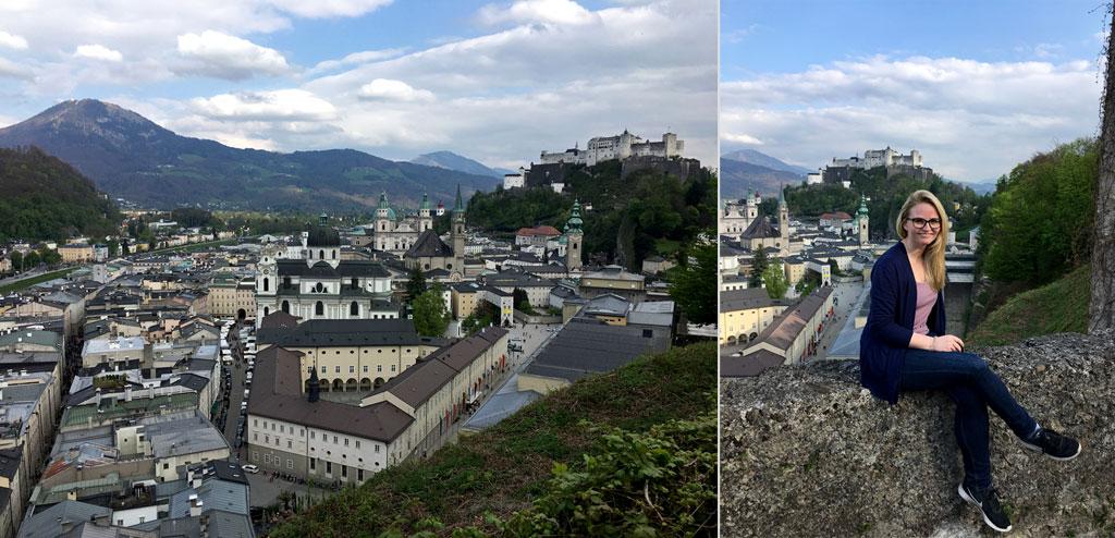 Frau auf Mauer und Salzburg