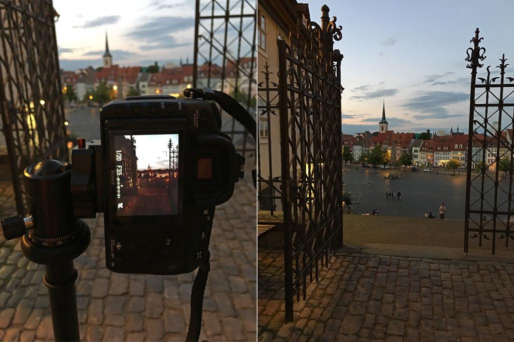 Domplatz Nacht Kamera Gitter