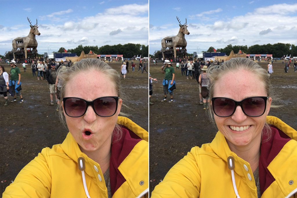 Frau gelbe Regenjacke Selfie