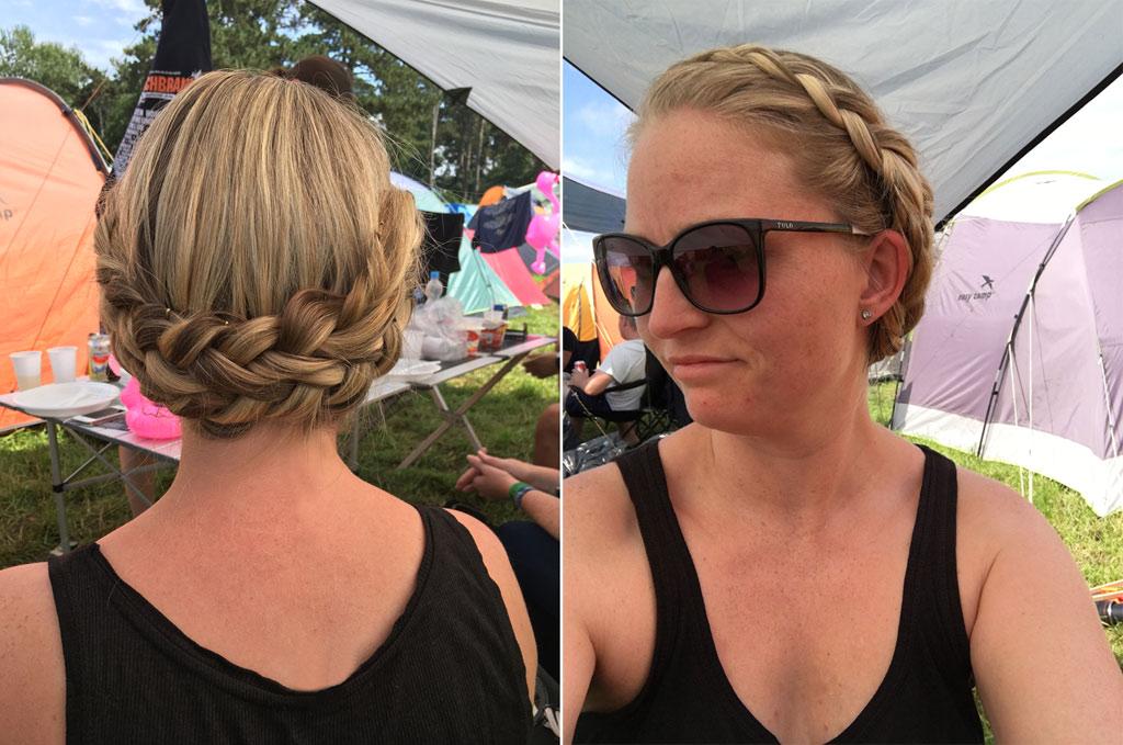 Frau geflochtener Haarkranz