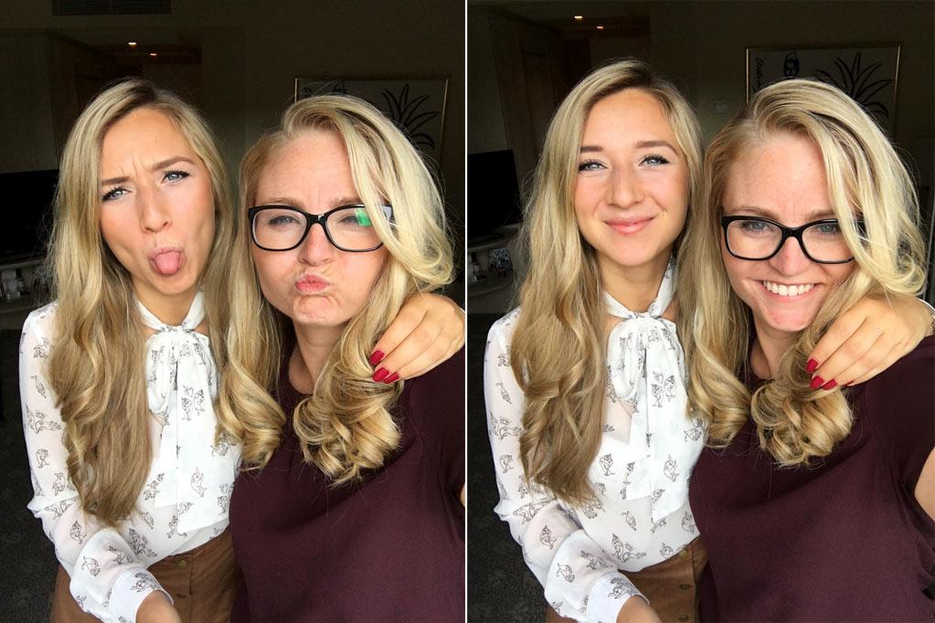 Frauen Locken Grimassen Selfie