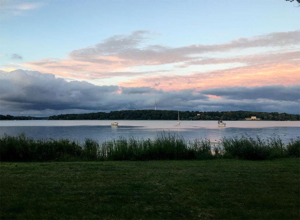 Havel Sonnenuntergang rosa Wolken