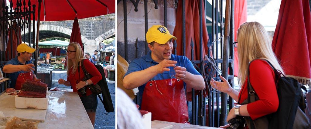 Frau Fischhändler Catania Pescheria
