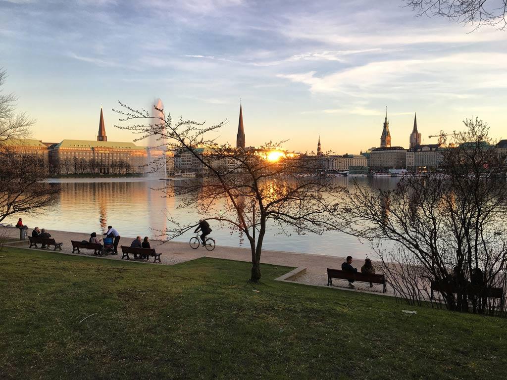 Sonnenuntergang Alster Hamburg