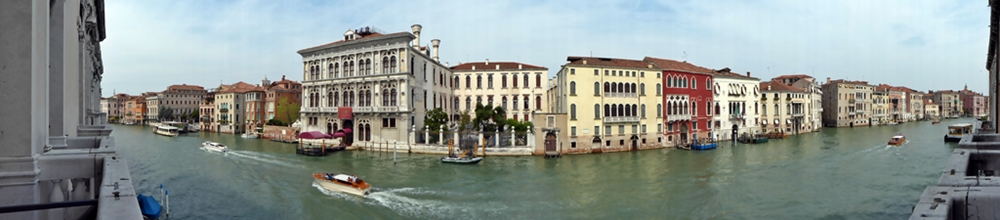 View over the Grand Canal in Venice of the palace Ca' Tron
