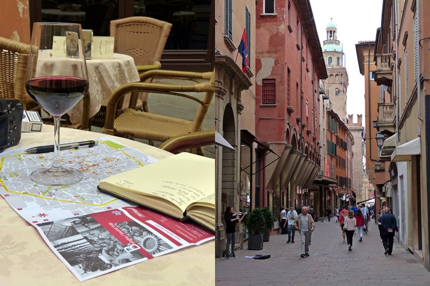 Exploring Bologna over a glass of red wine and strolling around the city