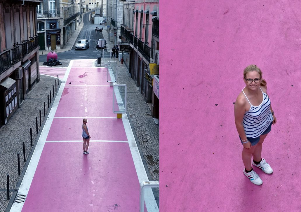 moments of travel on Pink Street in Lisbon, Portugal