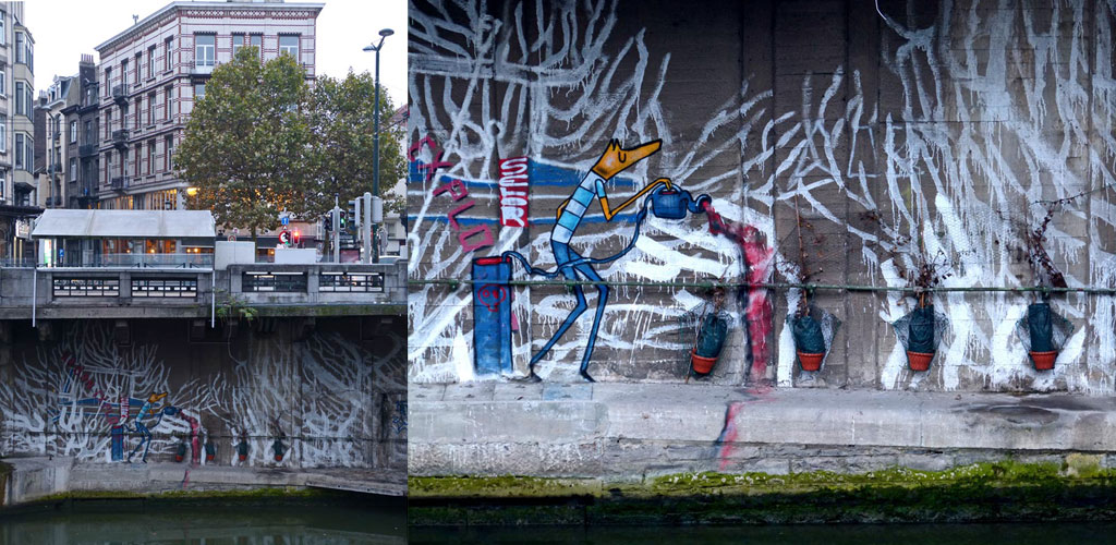Grafitti an Brücke in Brüssel, 48 Stunden Brüssel