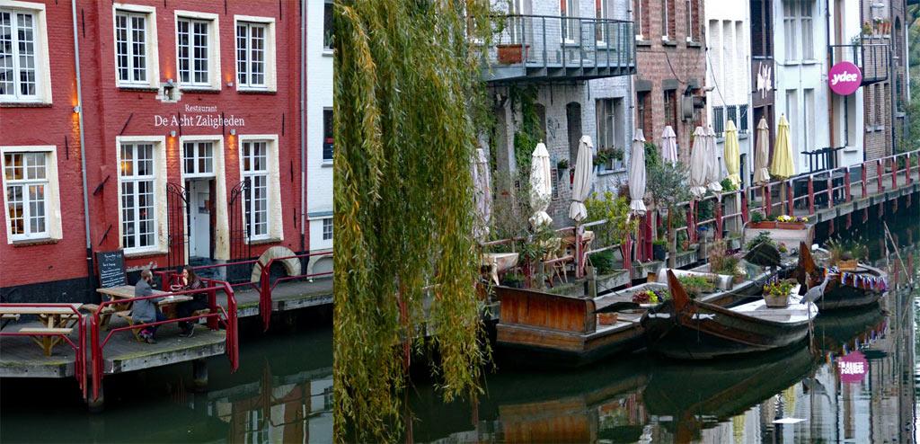 Bunte Häuser und Lokal am Wasser, Gent Sehenswürdigkeiten, Moments of Travel