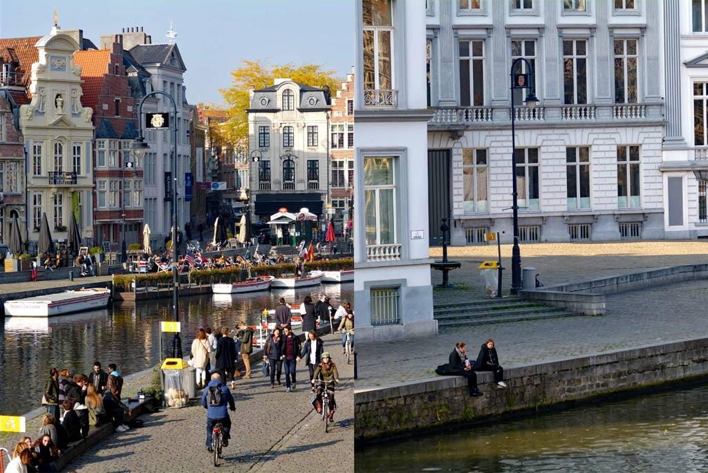 Menschen laufen entlang Korenlei und Graslei in Gent, Gent Sehenswürdigkeiten, Moments of Travel