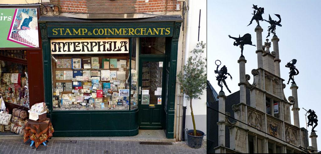 Souvenir-Shop und Giebelfiguren in Gent, Gent Sehenswürdigkeiten, Moments of Travel