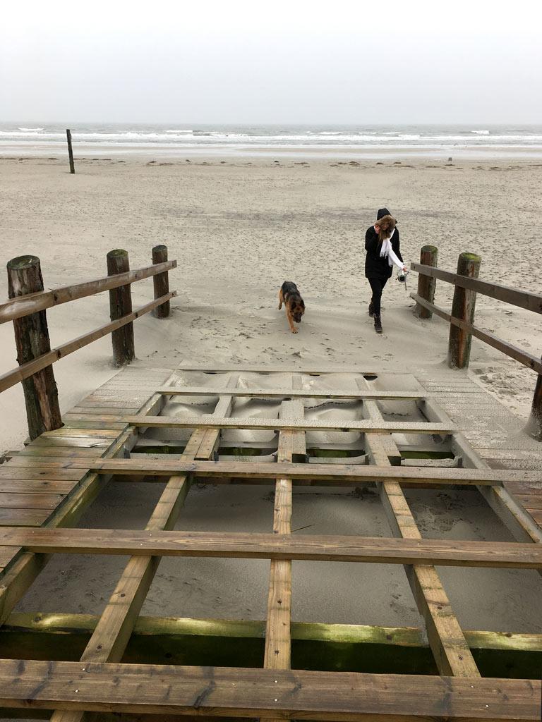 Holzbrücke Mädchen Hund St. Peter-Ording