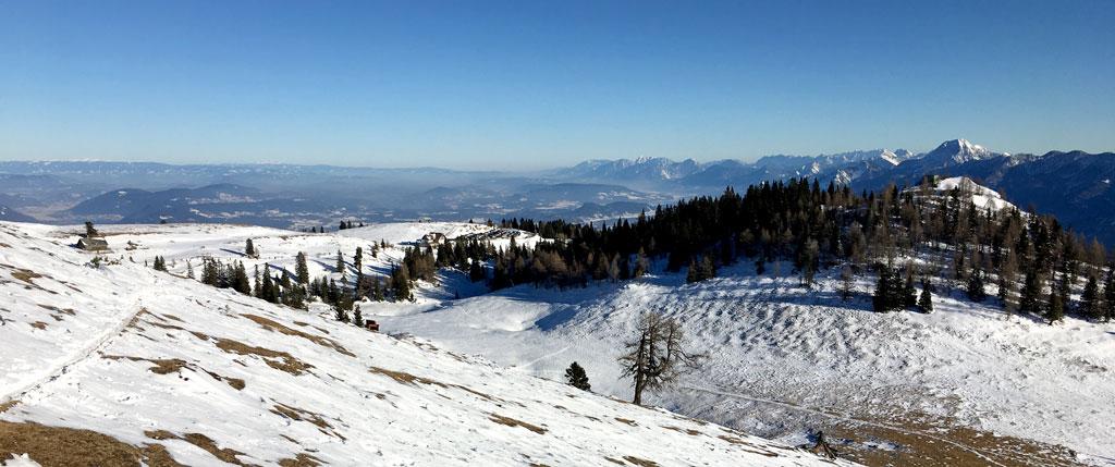schnee baeume aussicht vom dobratsch