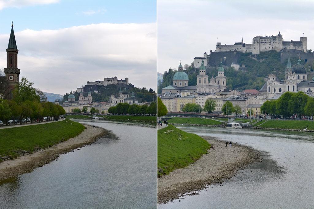 Fluss und Ufer mit Menschen Festung auf Berg Salzburg