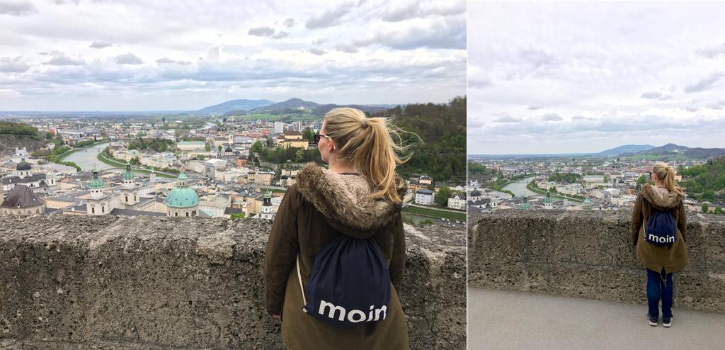 Frau Ausblick Innenstadt Salzburg