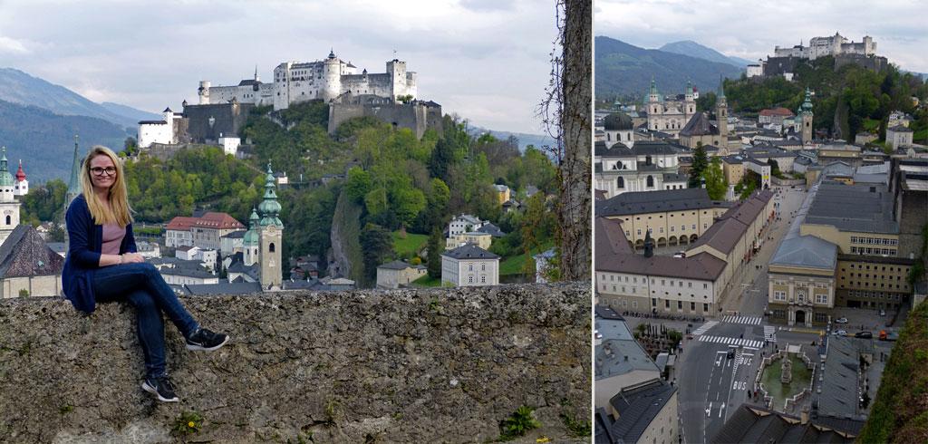 Frau auf Mauer vor Festung Hohensalzburg