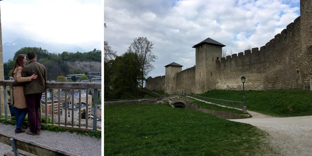 Stadtmauer und Pärchen in Salzburg