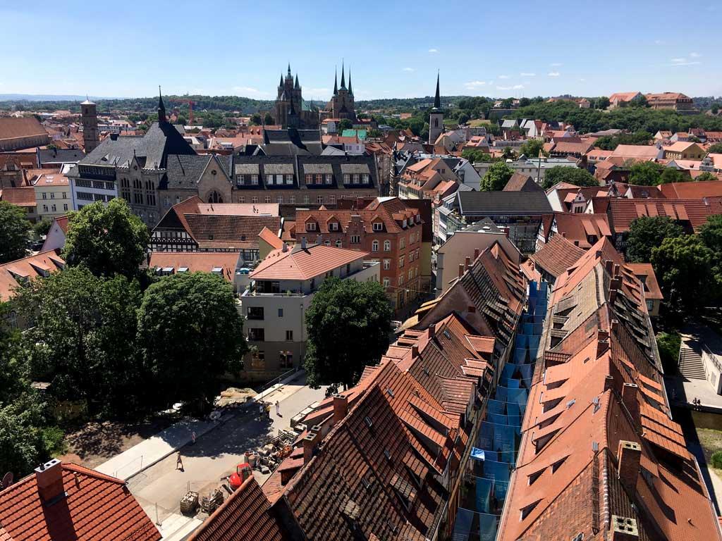 Erfurt von oben Krämerbrücke