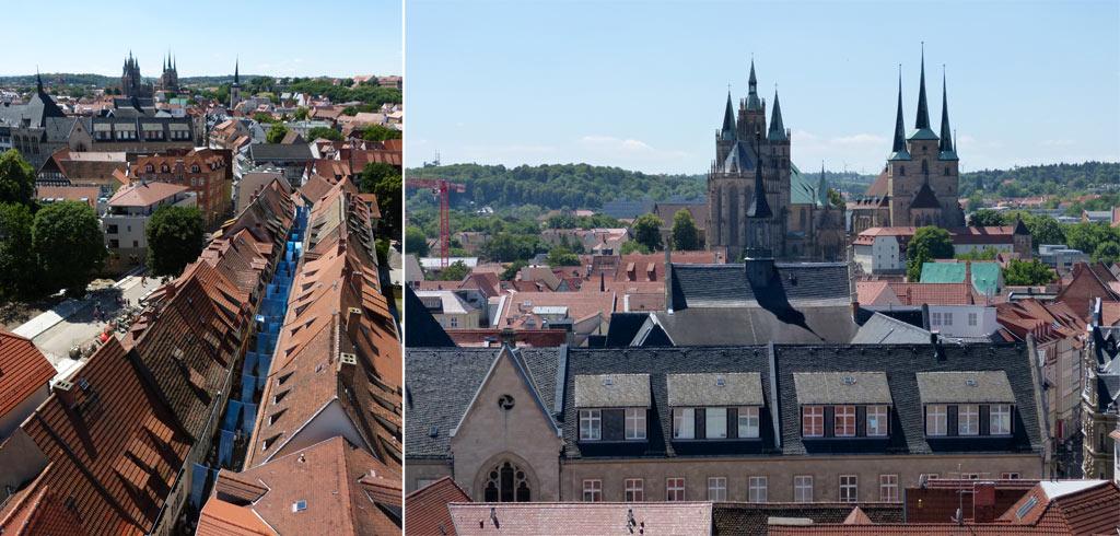 Erfurt von oben Krämerbrücke Dom
