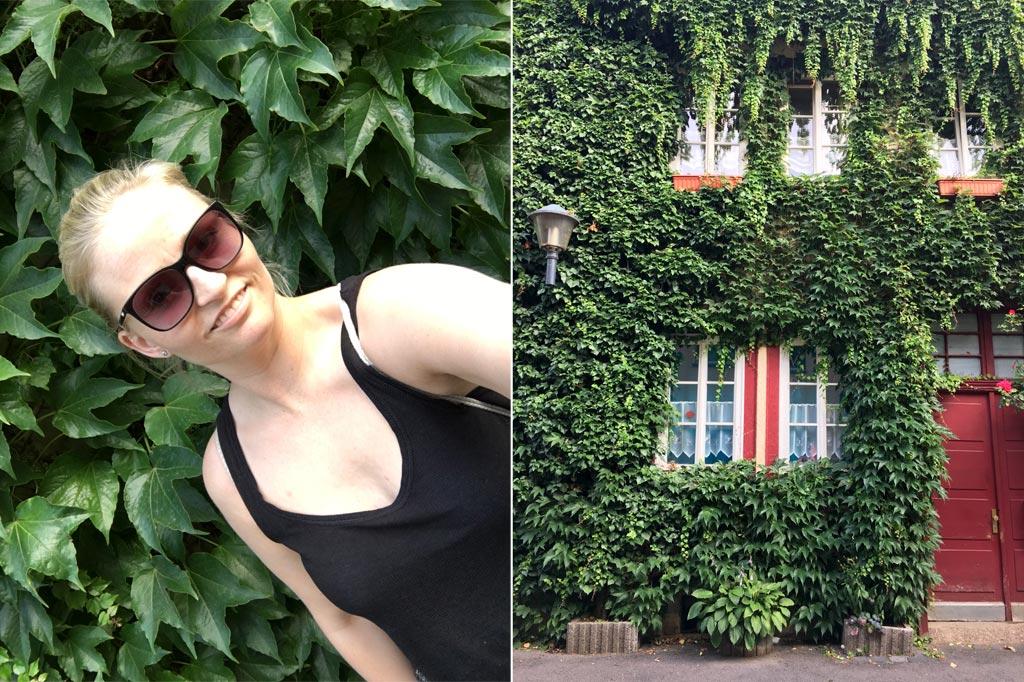 Frau Selfie grüne Hauwand Erfurt