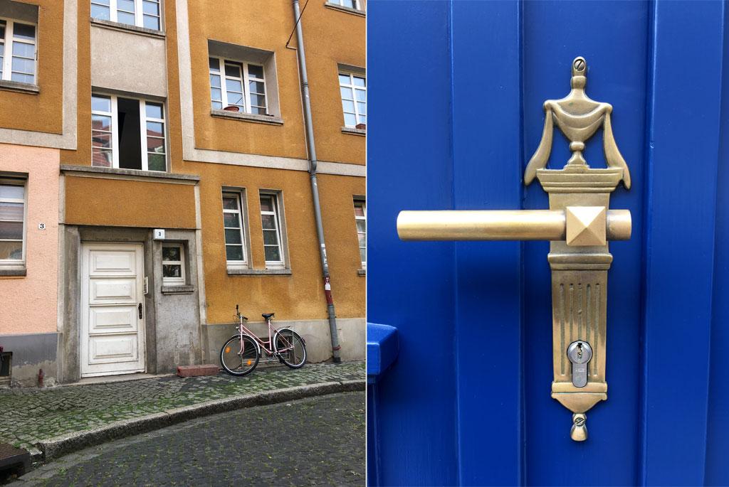 gelbes Haus blaue Tür Erfurt
