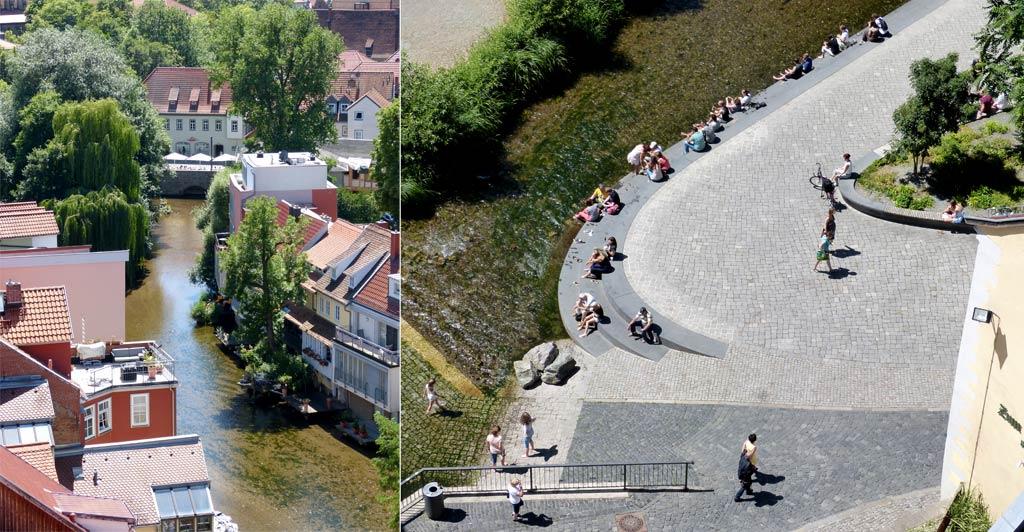 Häuser Fluss Menschen Erfurt von oben