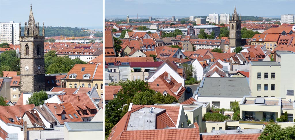 Kirchturm Dächer Bäume Erfurt