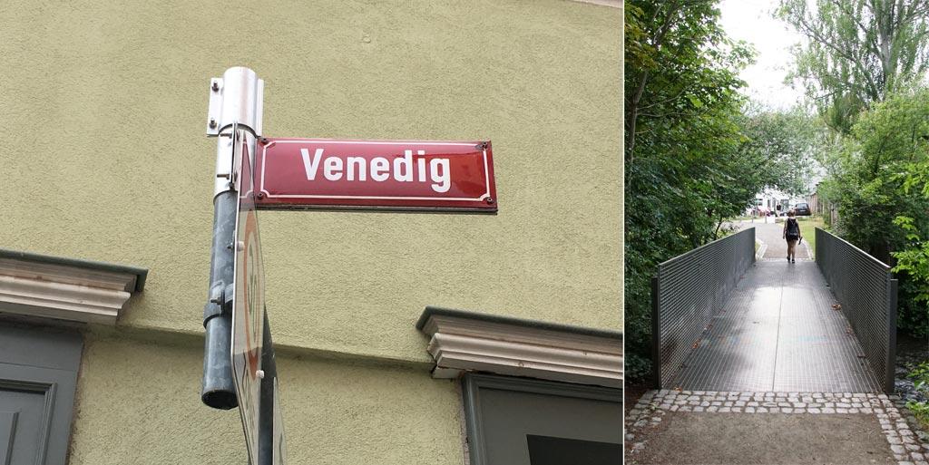 Schild Venedig Erfurt Frau Brücke