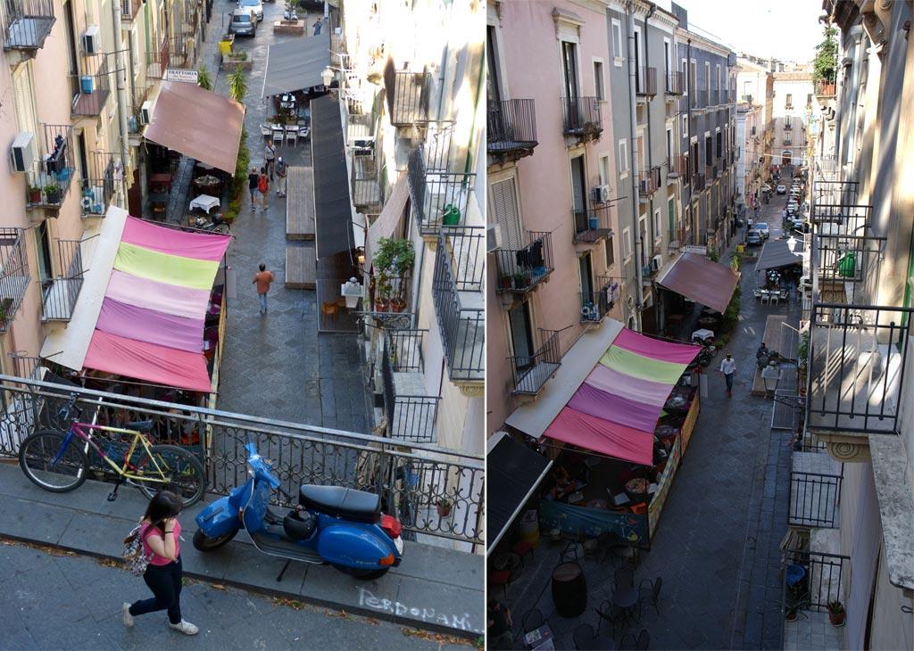 Straße Frau Vespa Catania