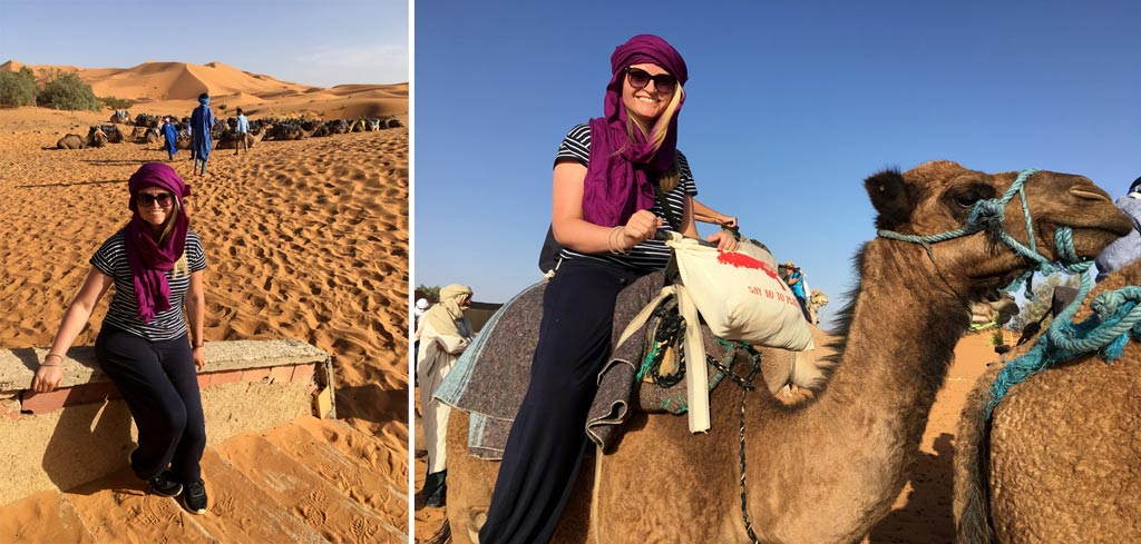 Frau Kamel Sahara Wüste