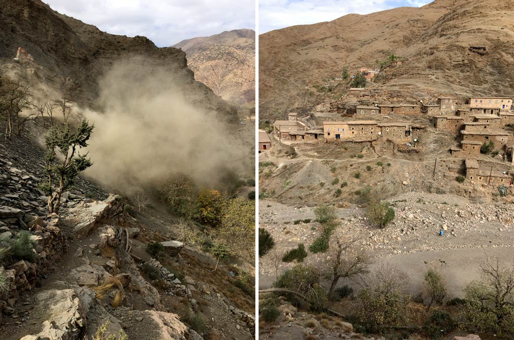 Marokko Atlas Gebirge Bauarbeiten